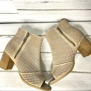 Mari A Open Toe Nude Heeled Boots Perforated 9.5